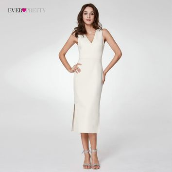 2018 Knitted Cocktail Dresses Ever Pretty EP07235 Women's Double V-Neck Bodycon Tea-Length White Cheap Cocktail Party Dresses