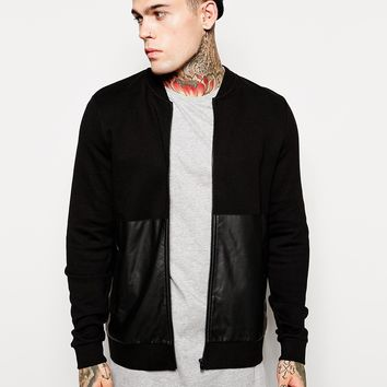 ASOS Bomber In Jersey With Leather Look Panel