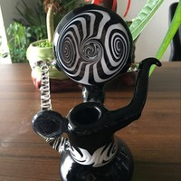 White and Black mini glass pipe Glass bubbler smoking pipe handle water Glass bong