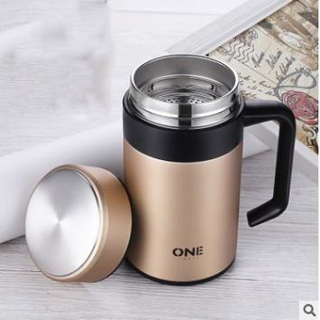 Stainless Steel Bottle With Tea Infuser Office Cup Coffee Mug