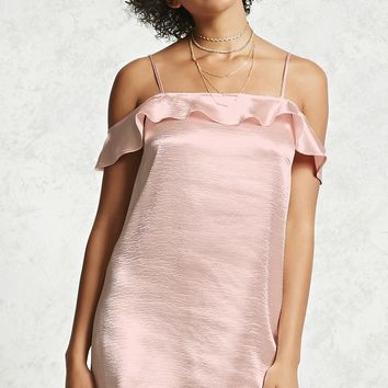 Satin Ruffle Slip Dress