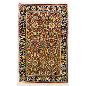 Oriental Sultanabad Antique Persian Wool Rug, Brown and Beige Rug, 3' x 5' Rug