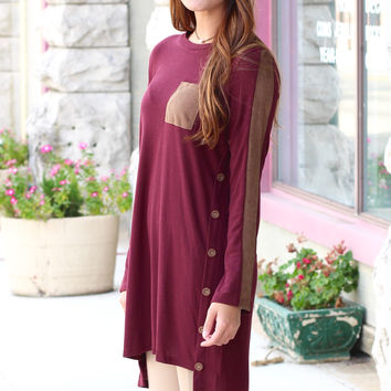 Buttons + Suede Long Sleeve Sweater Dress {Wine}