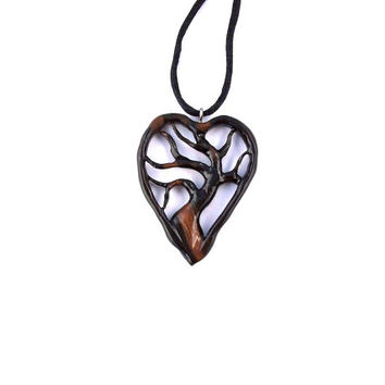 Wooden Jewelry, Tree of Life Necklace, Hand Carved Pendant, Wood Pendant, Wooden Heart, Tree of Life Pendant, Wood Jewelry, Wooden Pendant