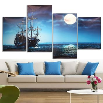 4Pcs Blue Sea Boat Canvas Painting Unframed Wall Art Bedroom Living Room Home Decor