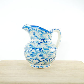 Talavera ceramic jar - blue kitchen decoration - serving sauce bowl - monaco blue ceramics - rustic kitchen decor