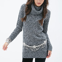 FOREVER 21 Marled Cowl Neck Sweater Dress