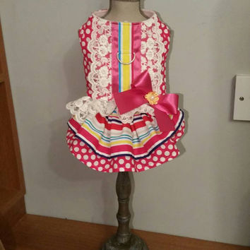 Dog harness dress - handmade pet clothes - xsmall dog dress - chihuahua dress - cute colourful dog dress