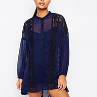 Moon River | Moon River Lace Trimmed Smock Dress with Balloon Sleeves at ASOS