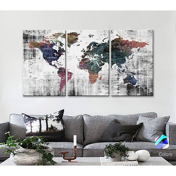 "LARGE 30""x 60"" 3panels 30x20 Ea Art Canvas Print Watercolor Old Map World Push Pin Travel M1809"