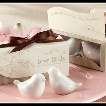 40pcs/lot(20boxes) Love birds ceramic Salt and Pepper shaker Wedding Favors for Cheapest Wedding gift Free shipping