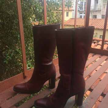 1990s Leather Boots - boho boots - oxblood red boots - Stevie Nicks boots - gypsy boots - distressed leather - 7 half