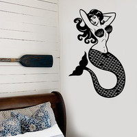 Vinyl Wall Decal Sexy Beautiful Mermaid Pin Up Style Sea Ocean Stickers Unique Gift (1403ig)