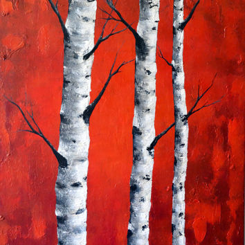 Large birch trees painting, rich red canvas wall artwork,  aspen trees art for the livingroom