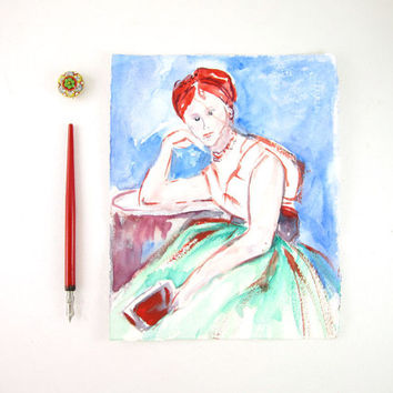 Original Portrait Painting - Interrupted Reading - Sketch Art - Blue - Green - Red - 8 x 10