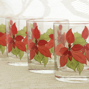 Block SPAL Low Ball Glasses Set of 4 Rocks Glasses Mary Lou Goertzen Poinsettia Watercolors 8 Ounce