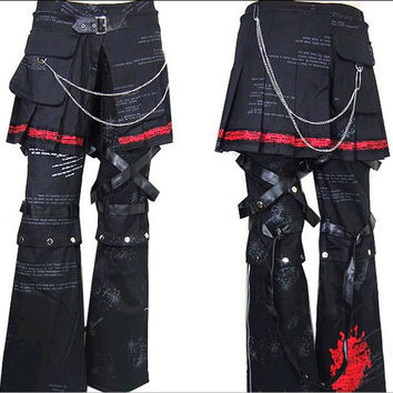 Punk Rave Rock Unisex Pants Steam Gothic Emo Fashion Cosplay Visual Kei Trousers