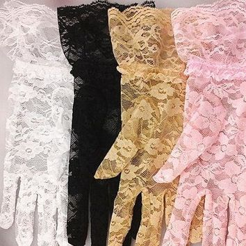 Short Lace Vintage Inspired Gloves - 4 Colors