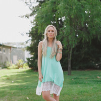 Lace Trimmed Tank Dress - Mint