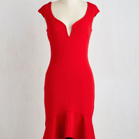 Mid-length Short Sleeves Sheath Clarinet the Air Dress in Rouge by ModCloth