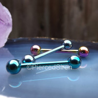 14g Nipple piercing jewelry barbell one single bar black pink blue ring rings body barbells bars tongue titanium iop external piercings stud