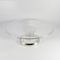 Vintage Mid-Century Modern Dorothy Thorpe Silver Band Silver Rim Pedestal Glass Cake Stand, Hollywood Regency, Wedding