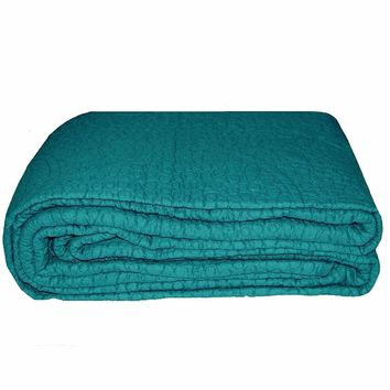 King size 3-Piece Turquoise 100% Cotton Quilted Bedspread
