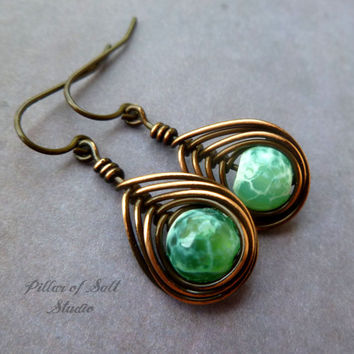 Copper wire wrapped earrings, wire wrapped jewelry handmade, wire jewelry, copper jewelry, green and white fire agate, earthy jewelry, boho
