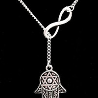 Infinity Hamsa Hand Of God Fatima Jewish Star Of David Y Lariat Style Necklace