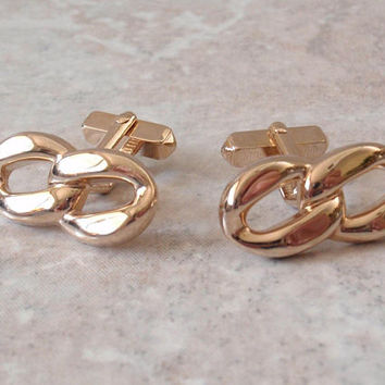 Chain Link Cufflinks Swank Gold Tone Toggle Link Vintage V0635