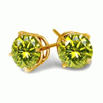 0.5 Carats Canary Diamond Earrings in 14k  White or Yellow Gold