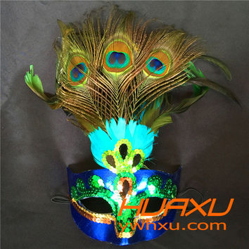 Hot!Party Mask Woman Female Masquerade Masks Luxury Peacock Feather Half Face Mask Party Cosplay Costume Halloween Venetian Mask