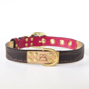 Hot Pink Dog Collar with Deep Purple Leather + Plum Stitching
