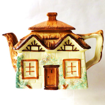 English Cottage Ware Teapot  / Vintage English Tea Pot / Thatched Cottage / Country Kitchen Decor / Afternoon Tea, Traditional Cottage Decor