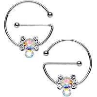 Aurora Clear Gem Universal Nipple Ring Set Created with Swarovski Crystals