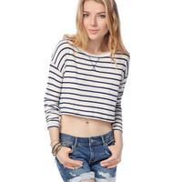 Aeropostale  Womens Long Sleeve Stripe Crop Top - Beige
