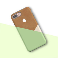 iPhone 7 plus case- Green Gift iPhone 7 plus case Galaxy S8 case Galaxy S7 edge S6 Galaxy Note 5 Tough Snap Case Pastel Green Geometric 019
