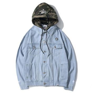 AAPE fashion patchwork camouflage removable hooded wash denim jackets are hot sellers for casual couple jackets Light Blue