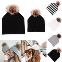 Mommy and Baby Hat Winter Warm Women Kids Cotton Hat Caps Mink Fur Ball Pompom Bobble Hat Mom and Me Matching Beanie Hats