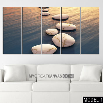 LARGE WALL ART - Art Canvas Print - Step Stones Sunset Canvas Print Framed 5 Panel Canvas