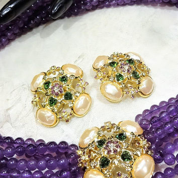 "Beautiful Vintage Elizabeth Taylor for Avon  ""Forever Violets"" Amethyst Coloured Multi Strand Beads Necklace and Earrings"