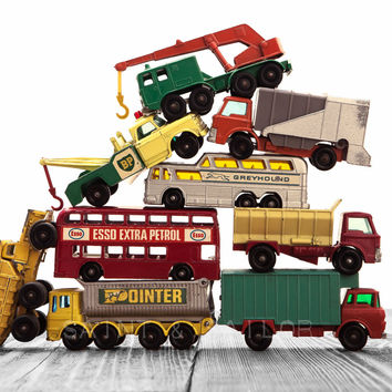 Vintage Stacked Matchbox Work Vehicles Pile