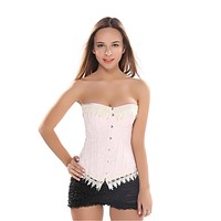 Jacquard Pink Lace Up Boned Overbust Corset Carnival Brocade Breathes Bustier Waist Trainer Corselet Plus size S-6XL