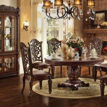 """Acme 62020 7 pc vendome v collection cherry finish 72"""" dia. round wood top pedestal dining table set"""