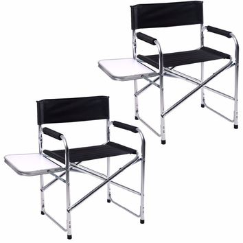 2PC Aluminum Folding Director's Chair with Side Table Camping Traveling GOPLUS  2*HW51196