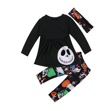 Pudcoco 3PCS Toddler Kids Baby Girls Autumn Halloween Outfits Pumpkin Dress Clothes T-shirt Tops+ Leggings Pants Set 2-7Y