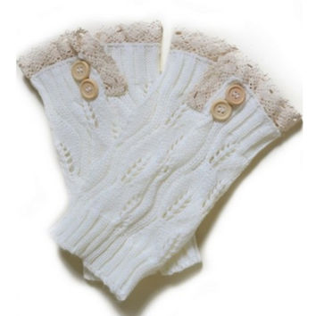 Lace Motif Button Accent White Boot Topper, Boot Cuff, Leg Warmer, Women's Accessories