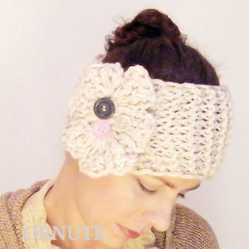 Knitted Headband, Flower Button Ear Warmer- Tan Beige// Hand Knit and Crochet Head Band-Ready to Ship