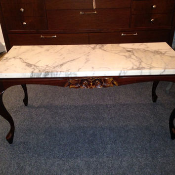 Antique Marble Carved Mahogany Coffee Table