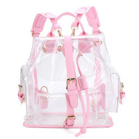 Women's Backpack Clear Plastic See Through Security Transparent Backpack Bag Ladies Travel Bag #GHYW
